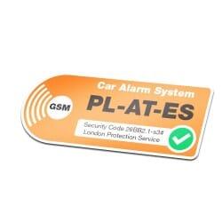Car Alarm Sticker Orange With Own License Plate