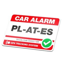 Car Alarm Sticker Red With Own License Plate