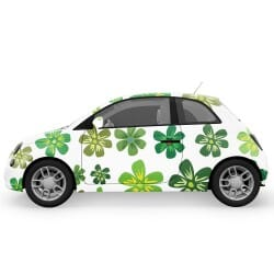 Green Flowers Car Stickers