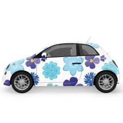 Blue Mix Flowers Car Stickers