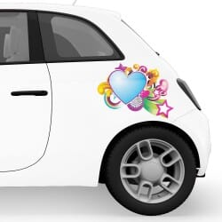 Stars and Heart Car Stickers